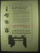 1922 American Ball Bearing Manual Training Lathe Ad