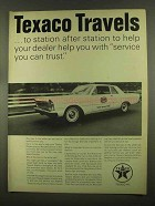 1965 Texaco Oil Ad - Travels To Station After Station