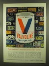 1965 Valvoline Motor Oil Ad - Preferred in 67 Countries
