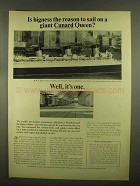 1965 Cunard Cruise Ad - Is Bigness The Reason?