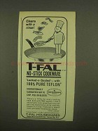 1965 T-Fal No-Stick Cookware Ad - Cleans With a Rinse
