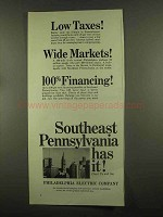 1965 Philadephia Electric Company Ad - Low Taxes!