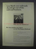1966 Burlington Railroad Ad - Lou Menk Says