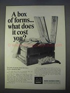 1966 Moore Business Forms Ad - A Box of Forms Cost