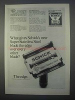 1966 Schick Super Stainless Steel Blades Ad - The Edge