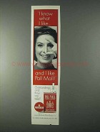 1966 Pall Mall Cigarettes Ad - I Know What I Like