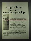 1966 Avis Rent-a-Car Ad - Copy In Every Pay Envelope