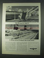1966 American President Lines Ad - The Man in Cabin 54