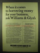 1978 Williams & Glyn's Bank Ad - Borrowing Money