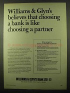 1978 Williams & Glyn's Bank Ad - Choosing a Partner