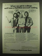 1974 NatWest Bank Ad - College Account Waiting