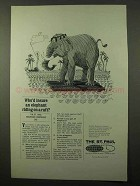 1969 The St. Paul Insurance Ad - Elephant on a Raft