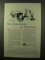 1930 Mutual Casualty Insurance Ad - Ten Generations