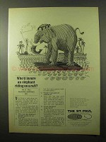 1966 The St. Paul Insurance Ad - Elephant on a Raft