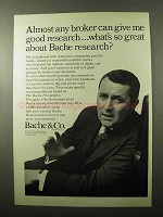 1966 Bache & Co. Brokers Ad - Give Me Good Research