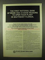 1966 The First National Bank of Miami Ad - Good Reasons
