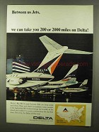 1966 Delta Airlines Ad - Between Us Jets