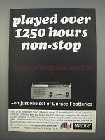 1966 Mallory Duracell Batteries Ad - 1250 Hours