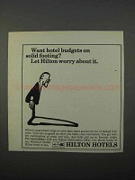 1966 Hilton Hotels Ad - Budgets On Solid Footing