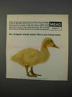 1966 Mead Moistrite Bond Paper Ad - Wrapper Sheds Water