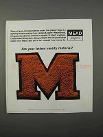 1966 Mead Bond Paper Ad - Are Your Letters Varsity