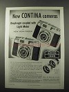 1958 Zeiss Contina Model II and III Camera Ad