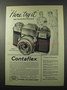 1958 Zeiss Contaflex Camera Ad - Here, Try It