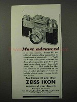 1943 Zeiss Ikon Contax III Camera Ad - Most Advanced