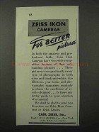 1943 Zeiss Ikon Cameras Ad - For Better Pictures