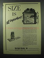1956 Rollei Rolleiflex Camera Ad - Size is Important
