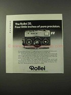 1973 Rollei 35 Camera Ad - Four Inches Pure Precision