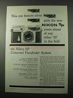 1958 Nikon SP Camera Ad - This One Feature Alone
