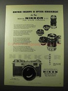 1957 Nikon 50mm Nikkor f:1.1 Lens Ad - Another Triumph