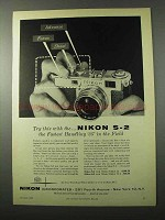 1956 Nikon S-2 Camera Ad - Try This With