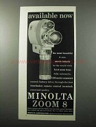 1963 Minolta Zoom 8 Movie Camera Ad - Available Now