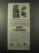 1959 Mamiya C Professional Camera Ad - Lenses
