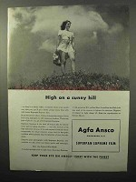 1943 Agfa Ansco Superpan Supreme Film Ad - High on Hill