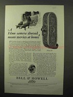 1928 Bell & Howell Filmo 75 Movie Camera Ad - Abroad