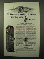 1928 Bell & Howell Filmo 75 Movie Camera Ad - Pocket