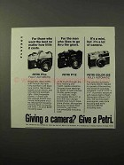 1973 Petri FTEE, FT II and Color 35E Cameras Ad