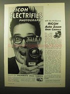 1961 Ricoh Auto Zoom 8mm Movie Camera Ad - Electrifies