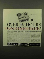 1961 Sony 101 Portable Tape Recorder Ad - 4 1/4 Hours