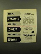 1961 Icelandic Airlines Ad - Only on Icelandic