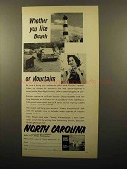 1960 North Carolina Tourism Ad - Whether You Like Beach