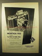 1960 Praktica FX3 Camera Ad - Dollar-for-Dollar Value