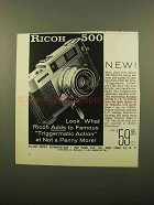 1960 Ricoh 500 Camera Ad - Triggermatic Action