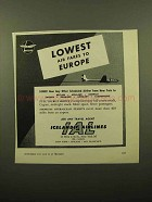1959 Icelandic Airlines Ad - Lowest Air Fares to Europe