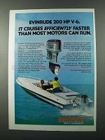 1976 Evinrude 200 Outboard Motor Ad - Efficiently