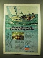 1978 Chrysler 26 and 22 Sailboats Ad - Roomy, Willing
