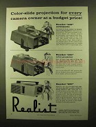 1958 Realist 400 and 620 Slide Projectors Ad